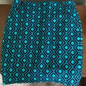 LOFT NWT turquoise and navy geometric design skirt